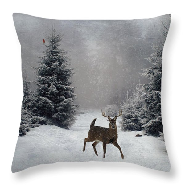 On a snowy evening Throw Pillow by Lianne Schneider