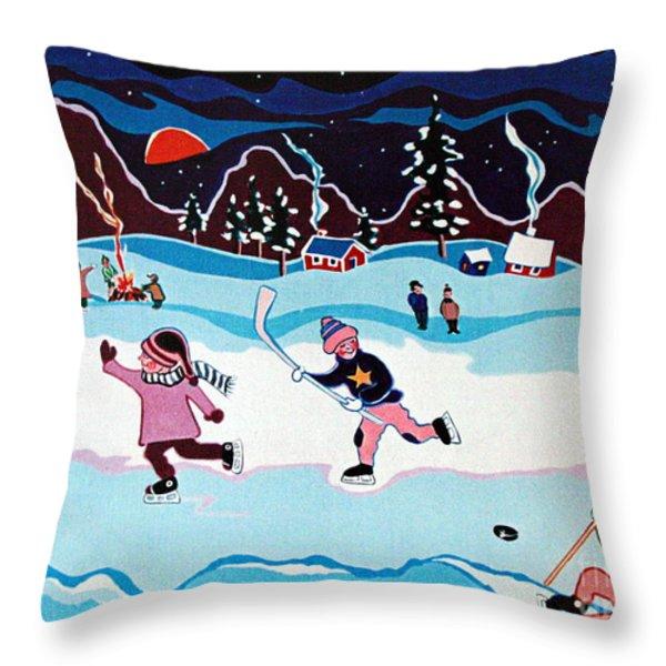 On Frozen Pond Throw Pillow by Joyce Gebauer