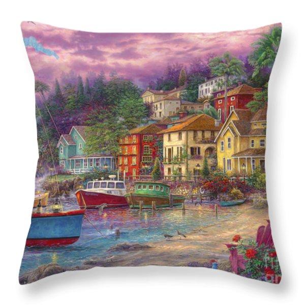 On Golden Shores Throw Pillow by Chuck Pinson