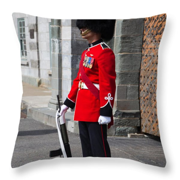 On Guard Quebec City Throw Pillow by Edward Fielding