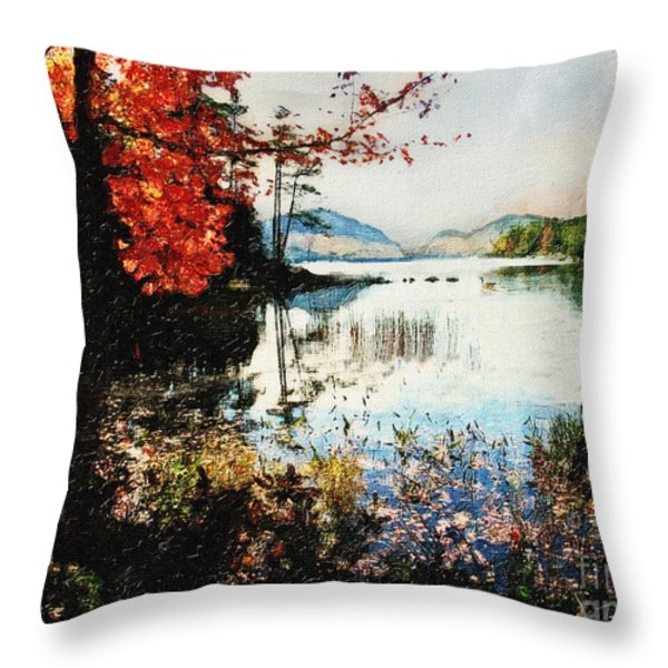 On Jordan Pond Throw Pillow by Lianne Schneider