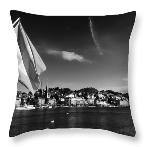 On Lake Lucerne Throw Pillow by Mountain Dreams