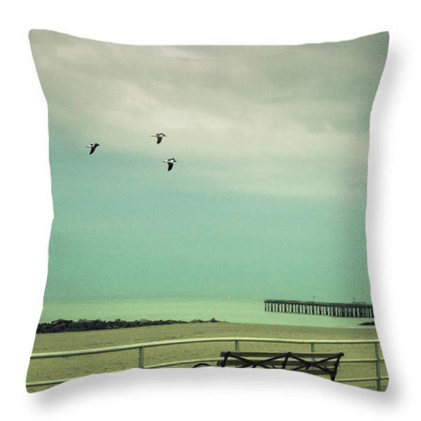On The Boardwalk Throw Pillow by Margie Hurwich