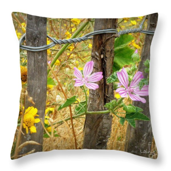 On the Fence Throw Pillow by Lainie Wrightson