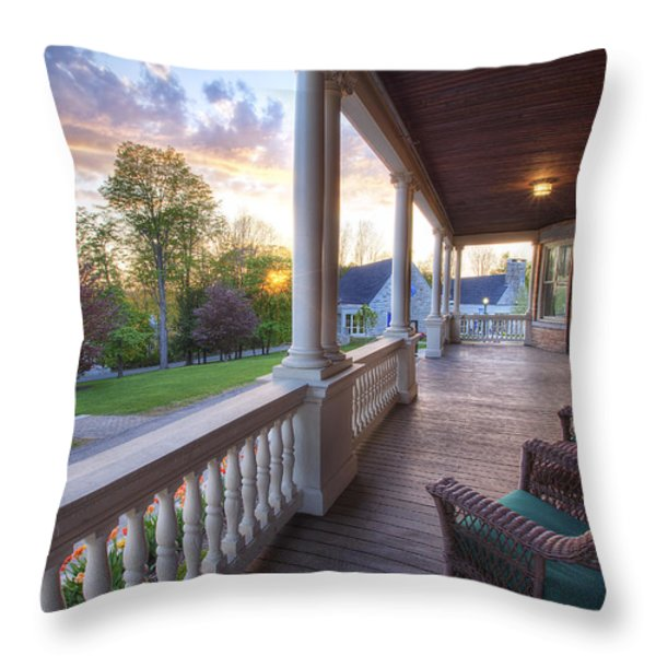 On The Porch Throw Pillow by Eric Gendron