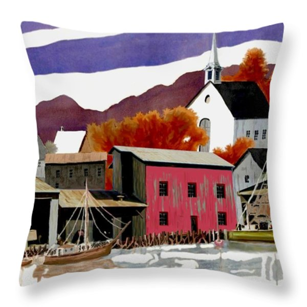 On the Waterfront Throw Pillow by Ronald Chambers