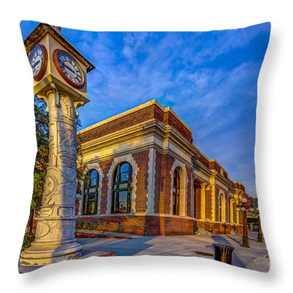 On Time Train Throw Pillow by Marvin Spates