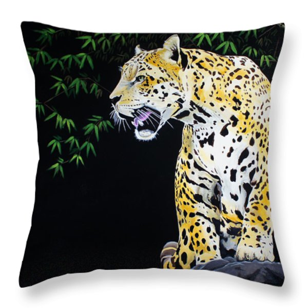 Onca And Bamboo Throw Pillow by Chikako Hashimoto Lichnowsky