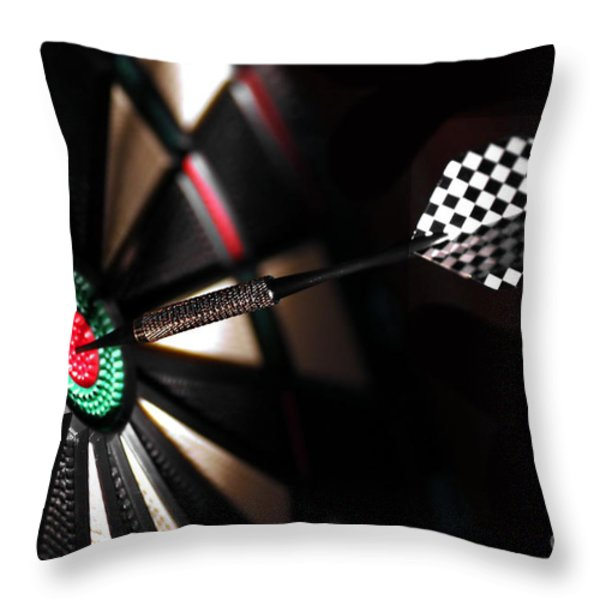 One Arrow In The Centre Of A Dart Board Throw Pillow by Michal Bednarek