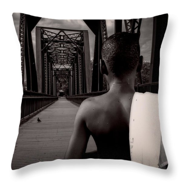 One Boy One Pigeon One Bridge Throw Pillow by Bob Orsillo