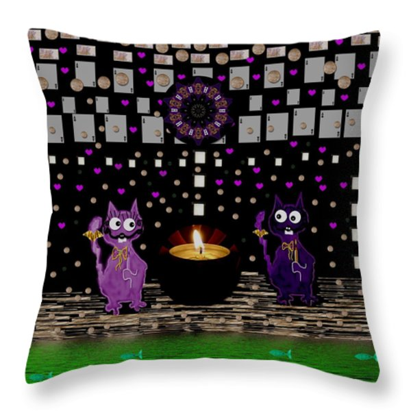 One Cat Named Dali The Other Salvador Throw Pillow by Pepita Selles