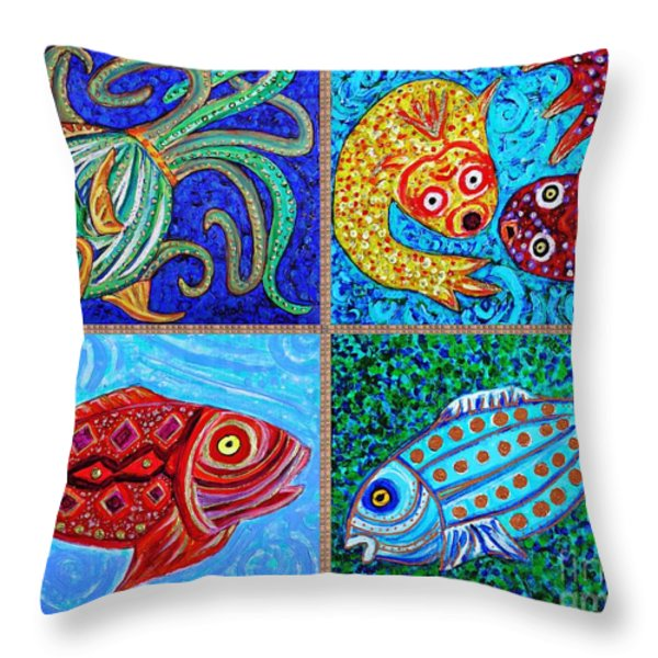 One Fish Two Fish Throw Pillow by Sarah Loft