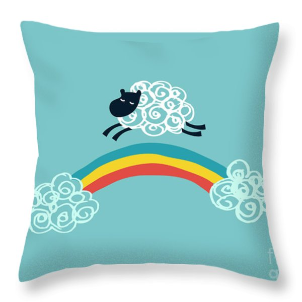 one happy cloud Throw Pillow by Budi Kwan