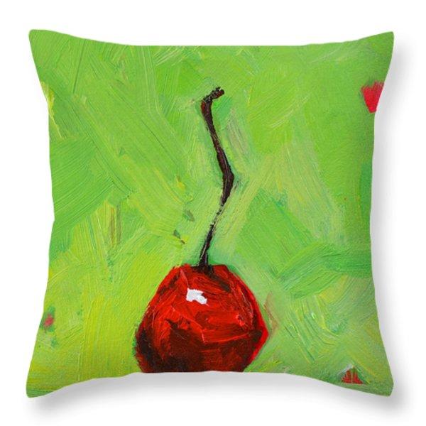 One Little Cherry Throw Pillow by Patricia Awapara