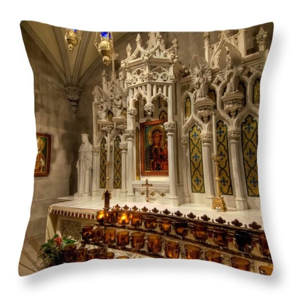 One of the Twelve Stations of the Cross in St Patricks Cathedr Throw Pillow by Amy Cicconi