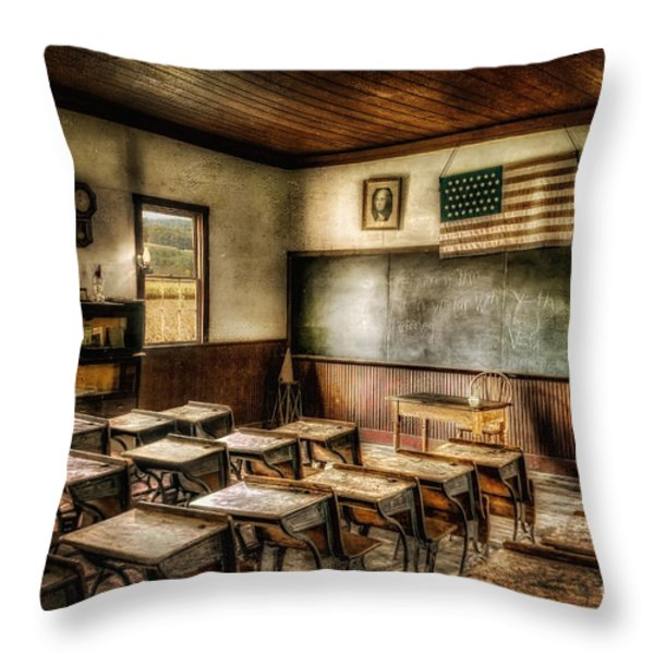 One Room School Throw Pillow by Lois Bryan