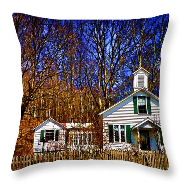 One Room Schoolhouse  Ulster County NY Throw Pillow by Pamela Phelps