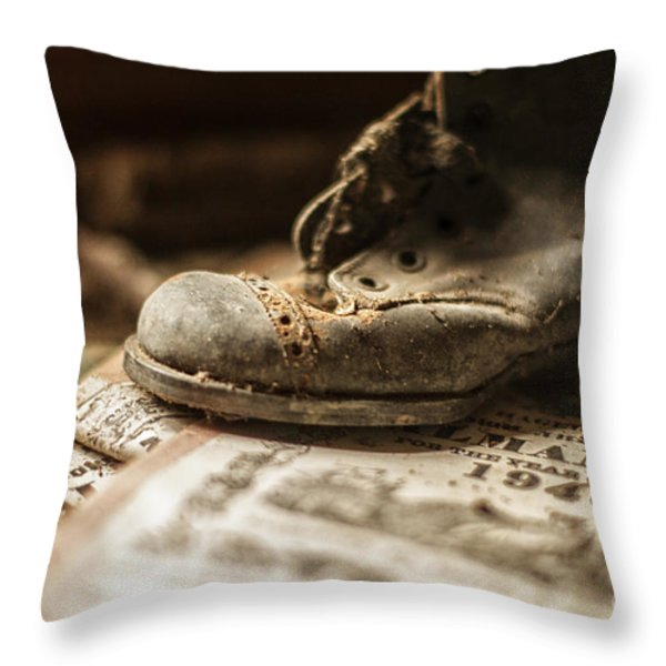 One Single Shoe Throw Pillow by Terry Rowe
