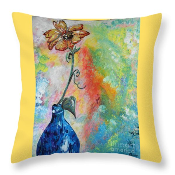 One Solitary Flower Throw Pillow by Eloise Schneider