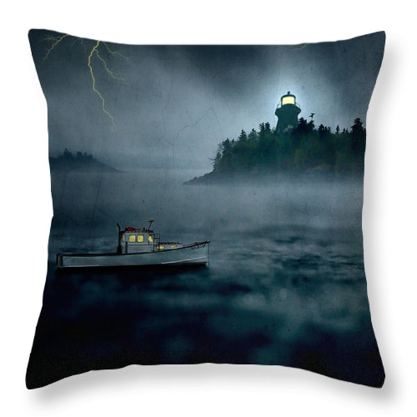 One Stormy Night in Maine Throw Pillow by Edward Fielding