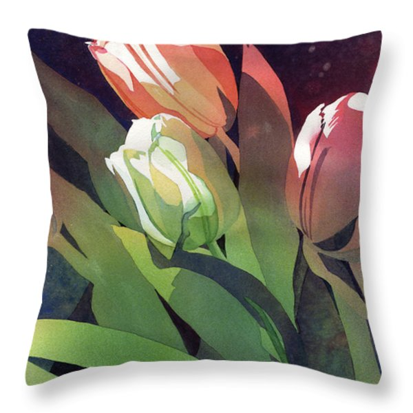 Only Three Tulips Throw Pillow by Kris Parins