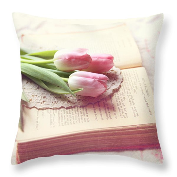 Open Book Throw Pillow by Sylvia Cook