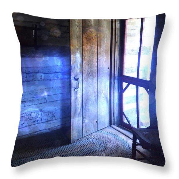 Open Cabin Door with Orbs Throw Pillow by Jill Battaglia