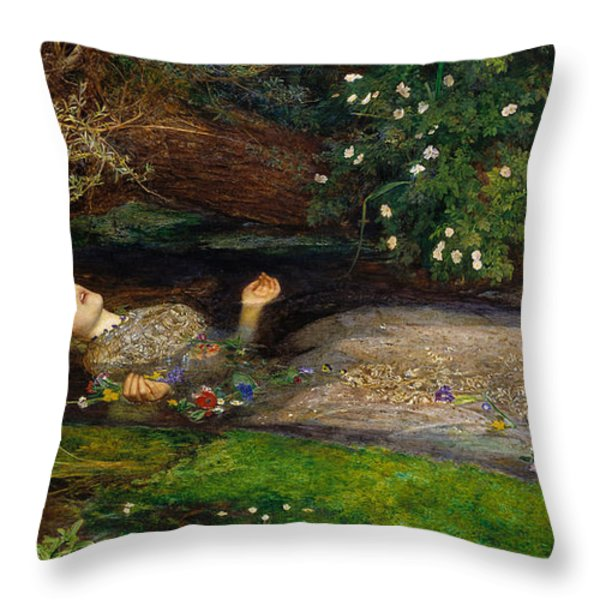 Ophelia  Throw Pillow by John Everett Millais
