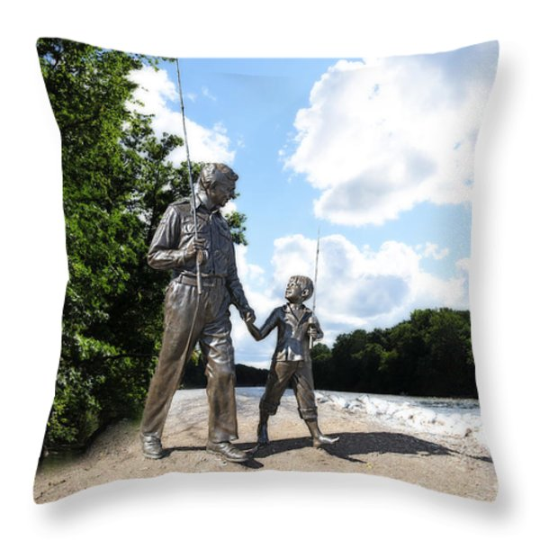 Opie And Andy Go Fishin Throw Pillow by David Arment