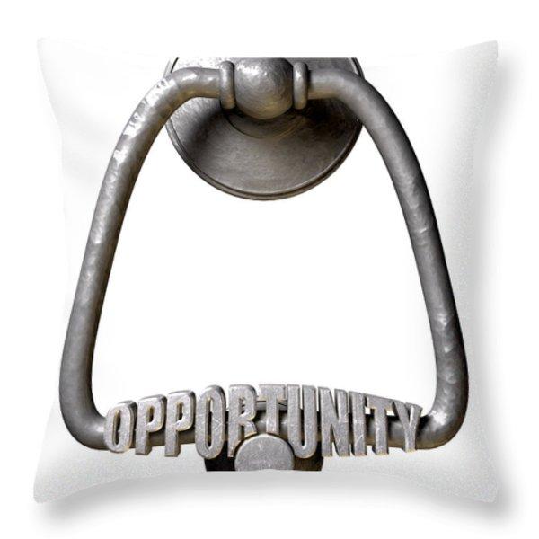 Opportunity Knocks Door Knocker Throw Pillow by Allan Swart