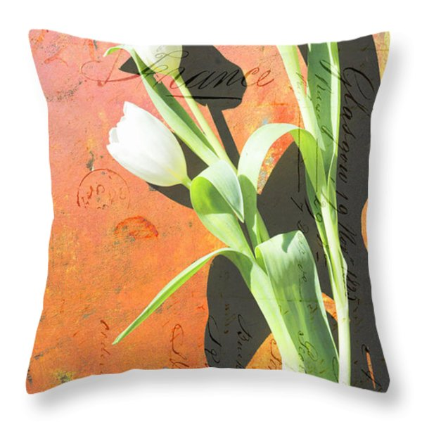 Orange Abstract Tulips Throw Pillow by Anahi DeCanio