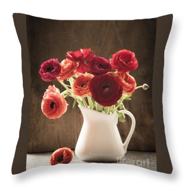 Orange and Red Ranunculus Flowers Throw Pillow by Jan Bickerton