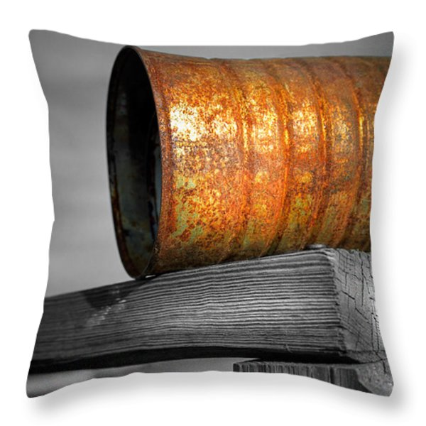 Orange Appeal - Rusty Old Can Throw Pillow by Gary Heller