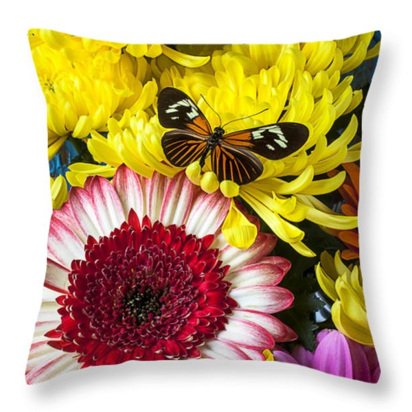 Orange Black Butterfly With Red Mum Throw Pillow by Garry Gay
