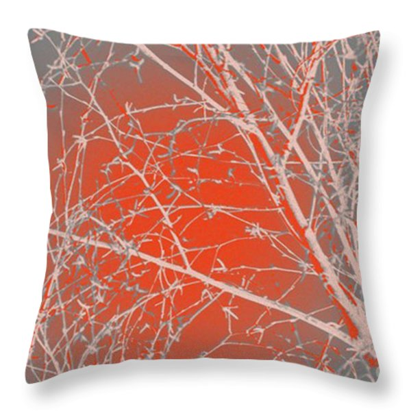 Orange Branches Throw Pillow by Carol Lynch
