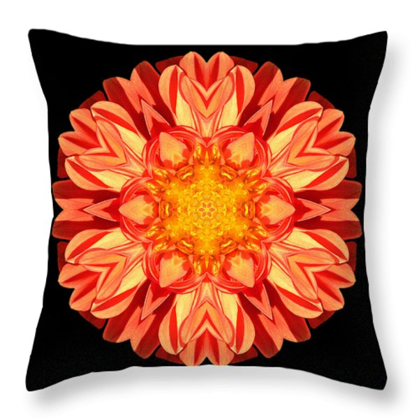 Orange Dahlia Flower Mandala Throw Pillow by David J Bookbinder