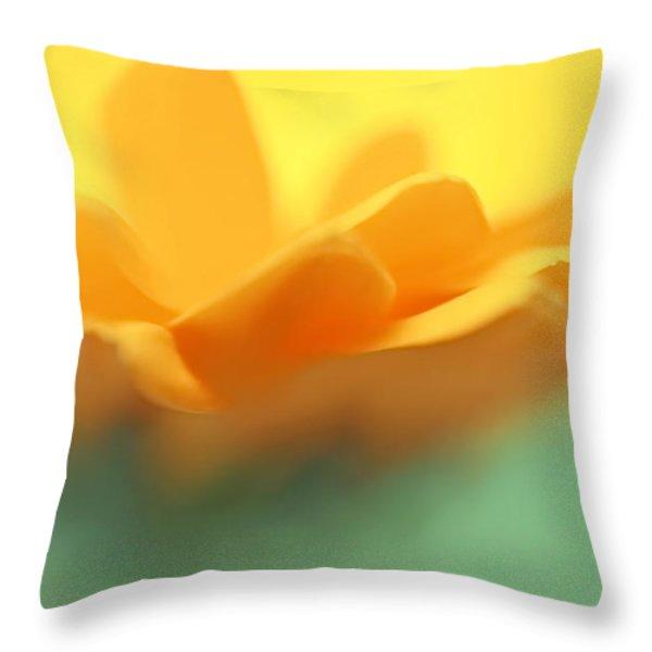 Orange Flower Petals Abstract Throw Pillow by Jennie Marie Schell