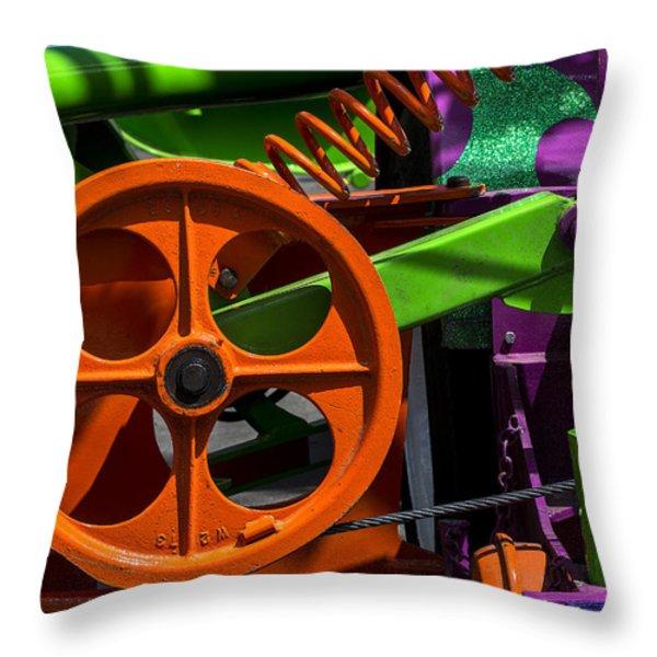 Orange gear Throw Pillow by Garry Gay