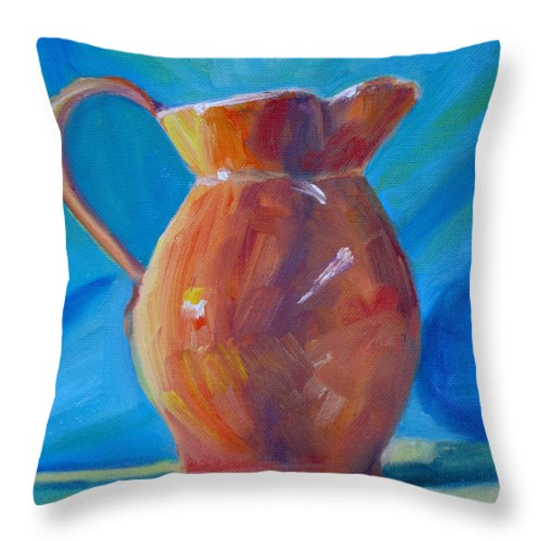 Orange Pitcher Still Life Throw Pillow by Donna Tuten