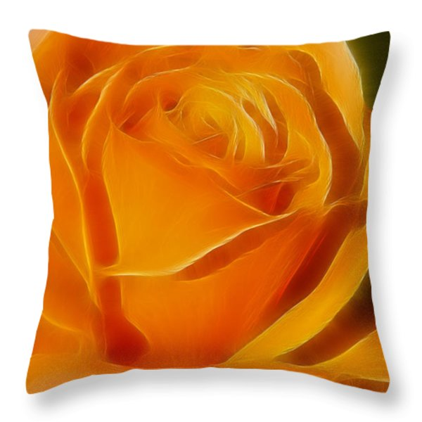 Orange Rose 6291-fractal Throw Pillow by Gary Gingrich Galleries