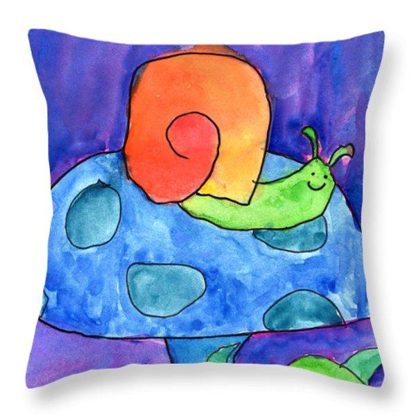 Orange Snail Throw Pillow by Nick Abrams Age Twelve