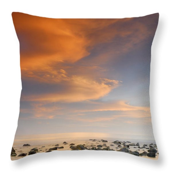 Orange Sunset At The Rocks Throw Pillow by Guido Montanes Castillo