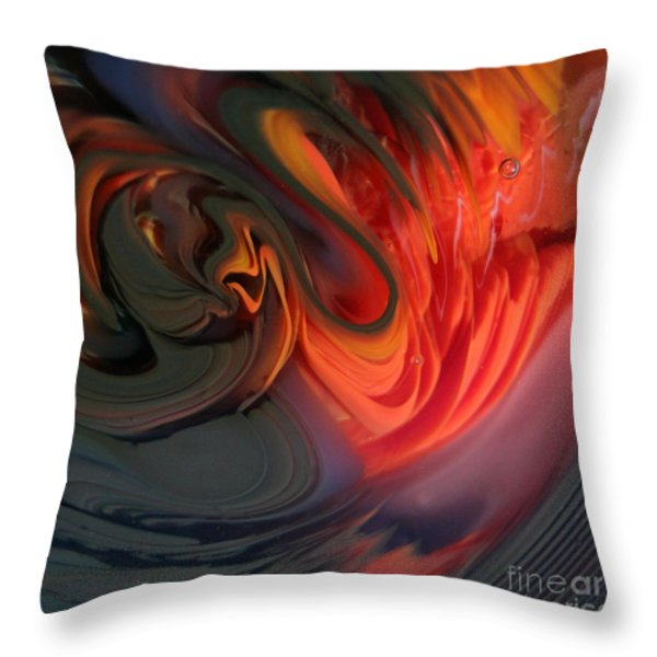 Orange Swirls Throw Pillow by Kimberly Lyon