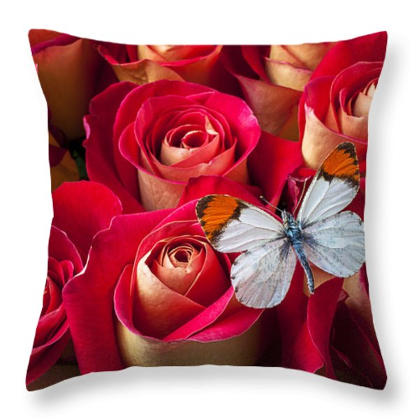 Orange tip butterfly Throw Pillow by Garry Gay