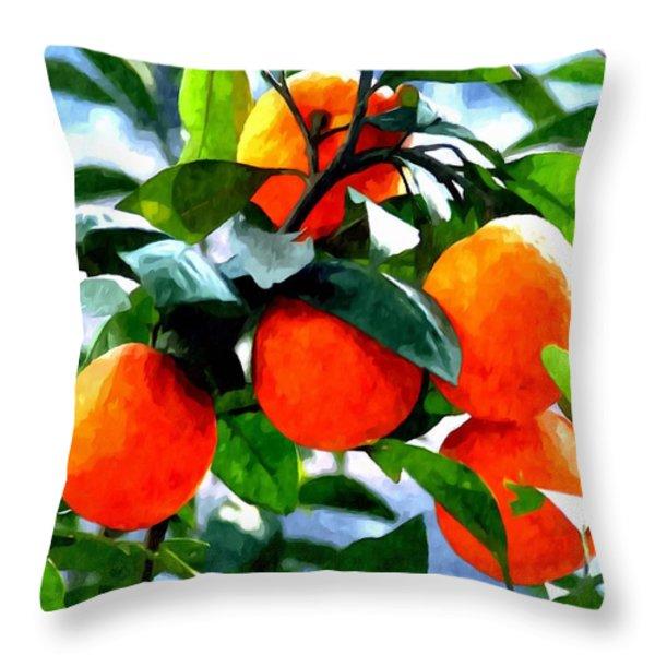 Orange Tree In Springtime  Throw Pillow by Lanjee Chee