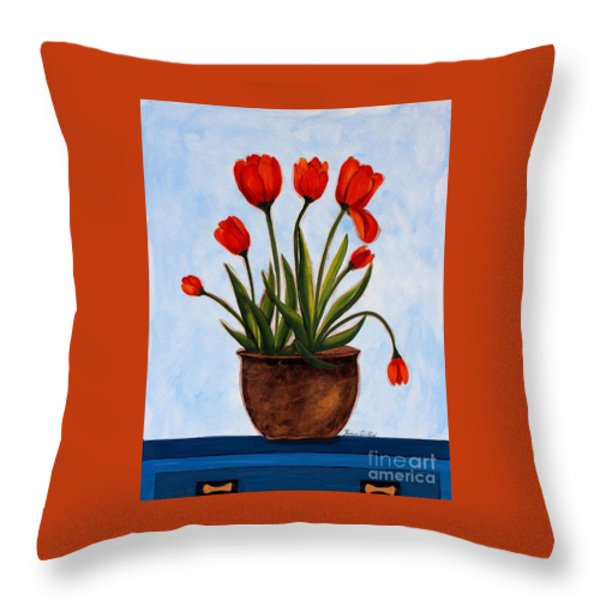Orange Tulips On A Blue Buffet Throw Pillow by Barbara Griffin