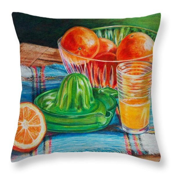 Oranges Throw Pillow by Joy Nichols
