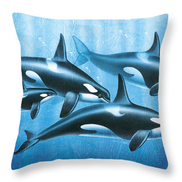 Orca Group Throw Pillow by JQ Licensing