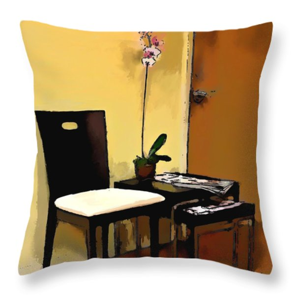 Orchid By A Chair Throw Pillow by Robert Smith