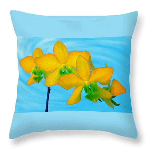 Orchid In Yellow Throw Pillow by Ben and Raisa Gertsberg